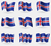 Set of Iceland flags in the air. Vector — Stock Vector