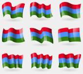 Set of Karelia flags in the air. Vector — Stock Vector