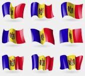 Set of Moldova flags in the air. Vector — Stock Vector