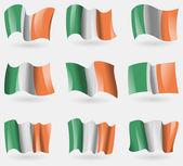 Conjunto de bandeiras da Irlanda no ar. Vector — Vetor de Stock