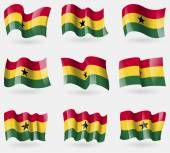 Set of Ghana flags in the air. Vector — Stock Vector