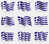 Set of Greece flags in the air. Vector — Stock Vector