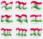 Set of Tajikistan flags in the air. Vector — Stock Vector