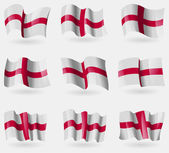 Set of England flags in the air. Vector — Stock Vector