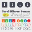 Arrow down, Download, Load, Backup  icon sign Big set of colorful, diverse, high-quality buttons. Vector — Stock Vector #72817365