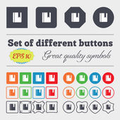Book bookmark  icon sign Big set of colorful, diverse, high-quality buttons. Vector — Stock Vector