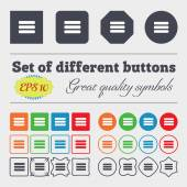 List menu, Content view options  icon sign Big set of colorful, diverse, high-quality buttons. Vector — Stock Vector