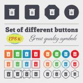 Recycle bin, Reuse or reduce  icon sign Big set of colorful, diverse, high-quality buttons. Vector — Stock Vector