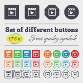 Play video  icon sign Big set of colorful, diverse, high-quality buttons. Vector — Stock Vector