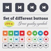 Fast backward  icon sign Big set of colorful, diverse, high-quality buttons. Vector — Stock Vector