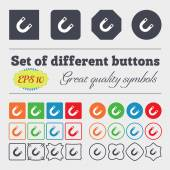 Magnet, horseshoe  icon sign Big set of colorful, diverse, high-quality buttons. Vector — Stock Vector