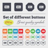 Sell, Contributor earnings  icon sign Big set of colorful, diverse, high-quality buttons. Vector — Stock Vector