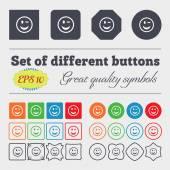 Ammiccante volto icona segno grande insieme dei pulsanti colorati, vari, di alta qualità. Vector — Vettoriale Stock