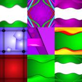 Set of nine different and colorful abstract backgrounds — Stock Vector