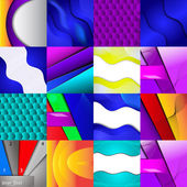 Set of sixteen different and colorful abstract backgrounds — Stock Vector