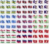 Karakalpakstan, Swaziland, American Samoa, Somalia, United Kingdom, Abkhazia, Hungary, Liechtenstein, Hong Kong. Big set of 81 flags. Vector — Stock Vector