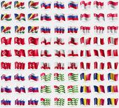 セイシェル、ロシア、シンガポール、トルコ、ジブラルタル、ペルー、スロバキア、アブハジア自治共和国、チャド。81 フラグの大きなセット。ベクトル — ストックベクタ