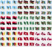 Saint Lucia, Kenya, Saint Pierre and Miquelon, UPA, Nigeria, Dominica, Cameroon, Switzerland, Greenland. Big set of 81 flags. Vector — Stock vektor
