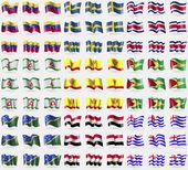 Venezuela, Sweden, Costa Rica, Ingushetia, Chuvashia, Guyana, Solomon Islands, Egypt, Ajaria. Big set of 81 flags. Vector — Stock Vector
