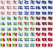 Turkish Northern Cyprus, Honduras, Kosovo, Djibouti, Abkhazia, Maldives, Mali, Sierra Leone, Switzerland. Big set of 81 flags. Vector — Stock Vector
