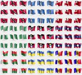 Trinidad and Tobago, Marianna Islands, Tonga, Nigeria, Antigua and Barbuda, Laos, Madagascar, Ukraine, Moldova. Big set of 81 flags. Vector — Stock Vector