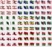 Lebanon, Christmas Island, USA, Algaria, Ethiopia, Bangladesh, Gibraltar, Belarus, Madagascar. Big set of 81 flags. Vector — Stock Vector