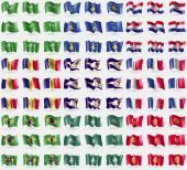 Saudi Arabia, Kosovo, Croatia, Andorra, American Samoa, France, Brazil, Macau, Kyrgyzstan. Big set of 81 flags. Vector — Stock Vector