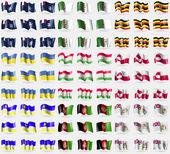 French and Antarcic, Algeria, Uganda, Ukraine, Tajikistan, Greenland, Buryatia, Afghanistan, British Antarctic Territory. Big set of 81 flags. Vector — Stock Vector