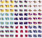 Niue, Namibia, Alderney, Palau, Montserrat, Karabakh Republic, Azerbaijan, Bahrain, Marshall Islands. Big set of 81 flags. Vector — Stock Vector