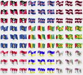 Antigua and Barbuda, Iceland, Latvia, Kosovo, Guinea, Sao Tome and Principe, Singapore, Buryatia, British Antarctic, Territory. Big set of 81 flags. Vector — Stock Vector