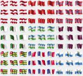 Austria, China, Norway, Algeria, Uzbekistan, Qatar, Togo, France, San Marino. Big set of 81 flags. Vector — Stock Vector
