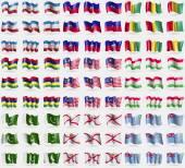 Mari El, Haiti, Guinea, Mauritius, Malaysia, Tajikistan, Pakistan, Jersey, Tuvalu. Big set of 81 flags. Vector — Stock Vector