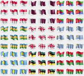 Singapore, Qatar, Eritrea, Karakalpakstan, Georgia, Uruguay, Palau, Mozambique, Burkia Faso. Big set of 81 flags. Vector — Stock Vector