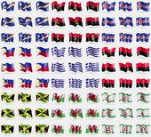 Marshall Islands, Angola, Iceland, Philippines, Greece, UPA, Jamaica, Wales, Ingushetia. Big set of 81 flags. Vector — Stock Vector
