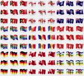 East Timor, Guernsey, Montserrat, South Africa, Andorra, Hong Kong, Germany, Tonga, Central African Republic. Big set of 81 flags. Vector — Stock Vector