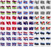 Mauritius, Congo Democratic Republic, Brittany, Kyrgyzstan, Turks and Caicos, Seychelles, Iceland, Paraguay, Estonia. Big set of 81 flags. Vector — Stock Vector