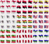 Singapore, UPA, Ecuador, Saint Barthelemy, Ghana, Puerto Rico, Tatarstan, Peru, Komi. Big set of 81 flags. Vector — Stock Vector