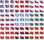 American Samoa, Bermuda, Czech Republic, Russia, Antarctica, Solomon Islands, Vietnam, UPA, Portugal. Big set of 81 flags. Vector — Stock Vector