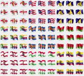 Guernsey, Puerto Rico, Tokelau, Comoros, Aland, Belarus, French Polynesia, Tajikistan, Ecuador. Big set of 81 flags. Vector — Stock Vector