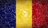 Flags Romania with broken glass texture. Vector — Stock Vector