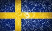 Flags Sweden with broken glass texture. Vector — Stock Vector