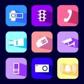 Photo, video flat icon set — Stock Vector