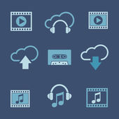 Media and music icon set — Stock Vector