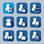 Media symbols flat icons — Stock Vector