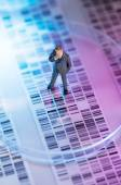 Man looking at DNA gel — Stock Photo