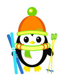 Sports penguin with winter skis — Vector de stock