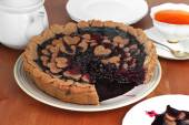 Gingerbread blueberry pie decorated with baked hearts. Vegan pastry — Stock Photo