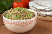 Baba ghanoush - dish of Arabic cuisine made of eggplants and tahina — Stock Photo