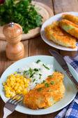 Fried cabbage with bread crumbs - vegan version of schnitzel — Stock Photo