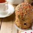 Traditional Easter bread - kulich with raisins and poppy seeds — Stock Photo #68467935